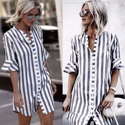 2018 Summer Fashion Women Black and White Striped Half Flare Sleeve Co – rricdress