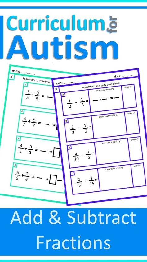 Add & Subtract Fractions and Decimals Autism Math Lessons