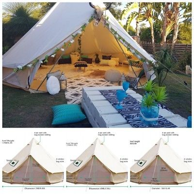 Bell Tent 4 Season Sun Canopy Sibley Tent Waterproof Cotton Canvas Glamping Yurt Ebay Canvas Bell Tent Bubble Tent Bell Tent