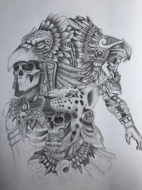 Aztec Tattoos Sleeve, Aztec Tribal Tattoos, Aztec Tattoo Designs, Aztec Art, Mayan Tattoos, Mexican Art Tattoos, Quetzalcoatl Art, Aztec Warrior Tattoo, Aztec Drawing