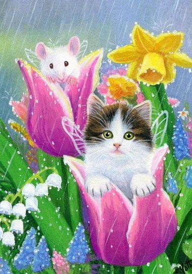 Kitten cat mouse fairy angel tulips spring rain shower original aceo painting #Miniature