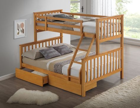 Modern 3 Sleeper Beech Childrens Bunk Bed Inc Drawers Bunk