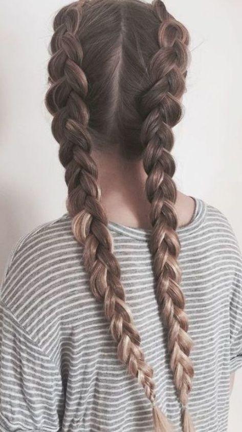 Cute Double Dutch Braids On Long Brown Hair In 2020 Braids For Long Hair Hair Styles Natural Hair Braids