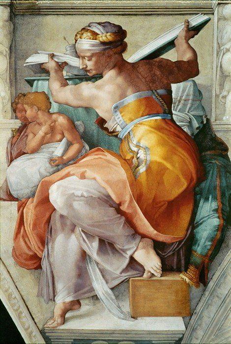 Rafael Glez Mosquera Michelangelo Buonarroti La Sibila Libia Arte Renacentista Pintura Pinturas Renacentistas Arte Renacentista