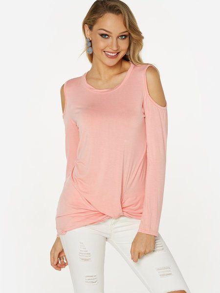 36f1c476b8d Pink Crossed Front Design Cold Shoulder Long Sleeves Knot T-shirt ...