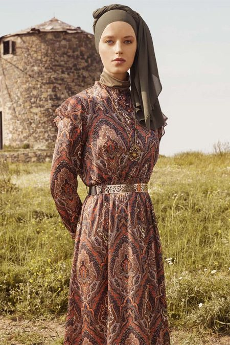 Refka Taba Firfir Detayli Etnik Desenli Elbise Online Satis Indirimli Satin Al Elbise The Dress Kadin Sokak Modasi