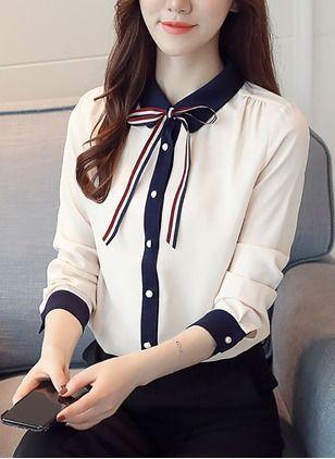 Camisa mlarga con lazo en el cuello blanco | Ropa, Blusa