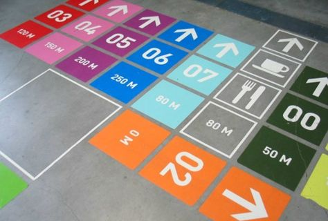 Wayfinding and directional floor signage that coudl be applied to an event