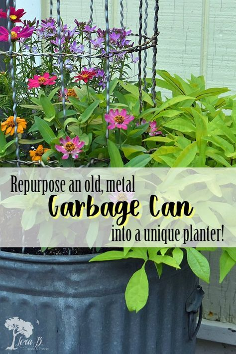 Repurpose an old, metal garbage can into a unique planter