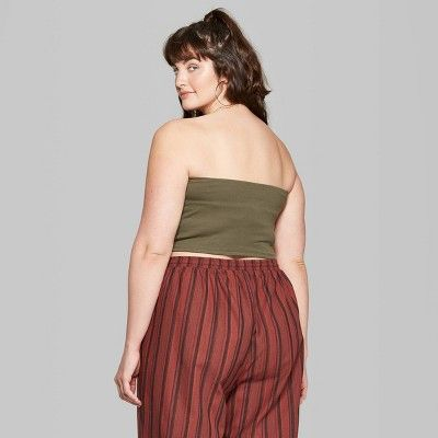6699f7a41 Women's Plus Size Double Tube Top - Wild Fable Olive 1X, Green in ...