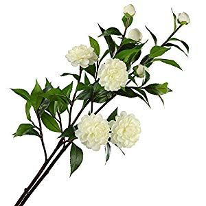 Rinlong Artificial Flowers White Silk Camellia Flower Branches For Baby Shower Wedding Ceremony Decor Home Kitchen Table Centerpiece Bedroom Decoration Silk F Fake Flowers Wedding Silk Flower Arrangements Camellia Flower