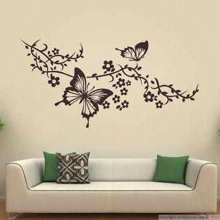 Decoracion De Paredes Con Mariposas De Papel Y Pintadas A Mano