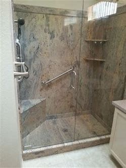 Cultured Marble Shower With Seat And Grab Bars With Images