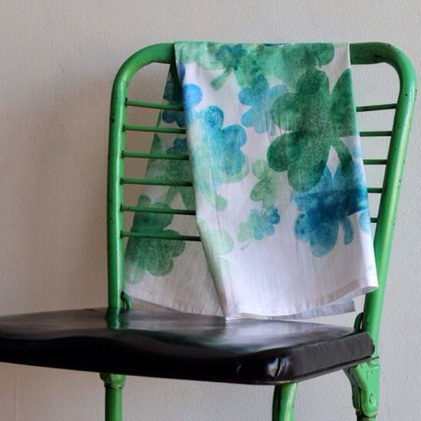 DIY Watercolor Effect Shamrock Tea Towel