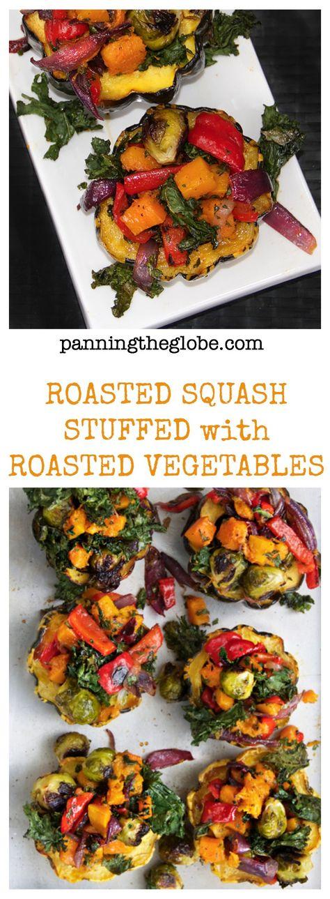 Roasted Squash Stuffed with Roasted Vegetables I Panning The Globe