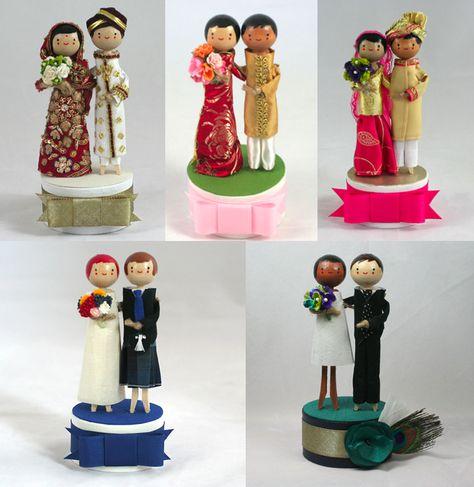 Multi-ethnic international wedding cake toppers.