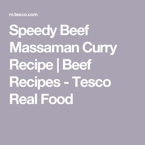 Speedy Beef Massaman Curry