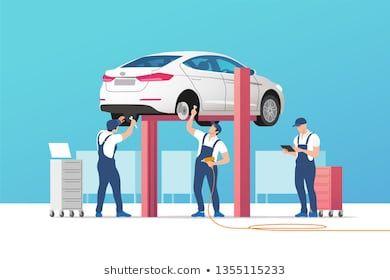 Auto Service And Repair Car In Maintenance Workshop With Mechanics Team Vector Illustration Assistance Auto Perbaikan Mobil Perbaikan Ilustrasi Vektor