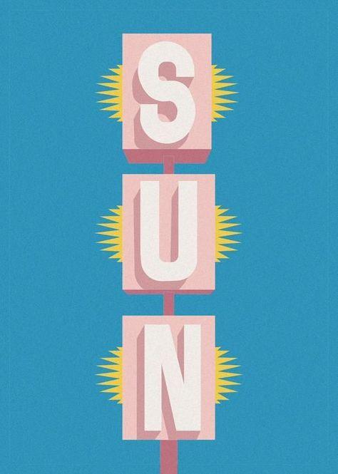 Palm Springs Sun Sign Print, A4/A3, Graphic Design Mid century Modern Poster, Pink and Blue, Pastels