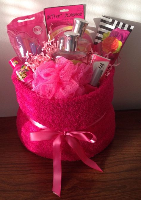 Pink Themed Gift Basket Birthday Holiday Celebrate Congratulation Present Pink T. Pink Themed Gift Basket Birthday Holiday Celebrate Congratulation Present Pink T… Pink Themed Gif Homemade Gift Baskets, Diy Gift Baskets, Raffle Baskets, Homemade Gifts, Birthday Gift Baskets, Christmas Gift Baskets, Christmas Gifts, Gift Baskets For Women, Towel Cakes