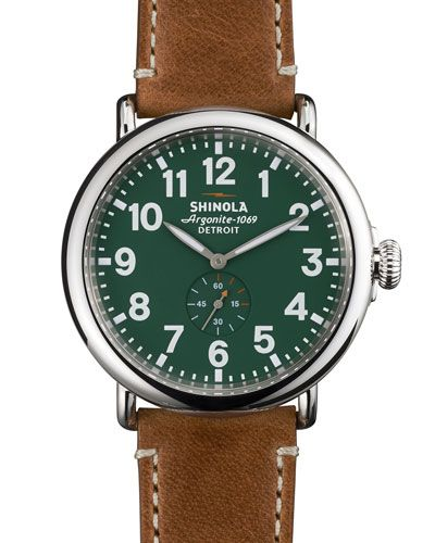 Shinola 'The Runwell' Brown Leather Strap Watch Blue Face,