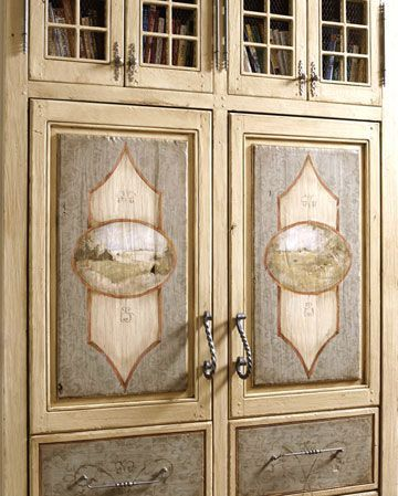 Hand Painted Kitchen Cabinets Hand Painted Kitchen Cabinet Door Insets Make This Piece Of Cabine In 2020 Kitchen Cupboards Paint Antique Armoire Kitchen Cabinet Styles