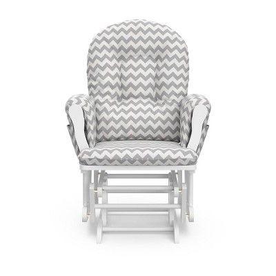 Stupendous Stork Craft Hoop White Glider And Ottoman Gray Chevron In Machost Co Dining Chair Design Ideas Machostcouk