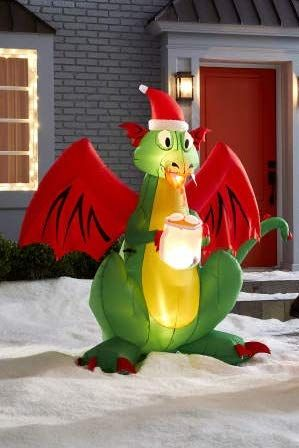 2020 Christmas Dragon 6 Foot Tall Airblown Inflatable Animated LED Fire Breathing