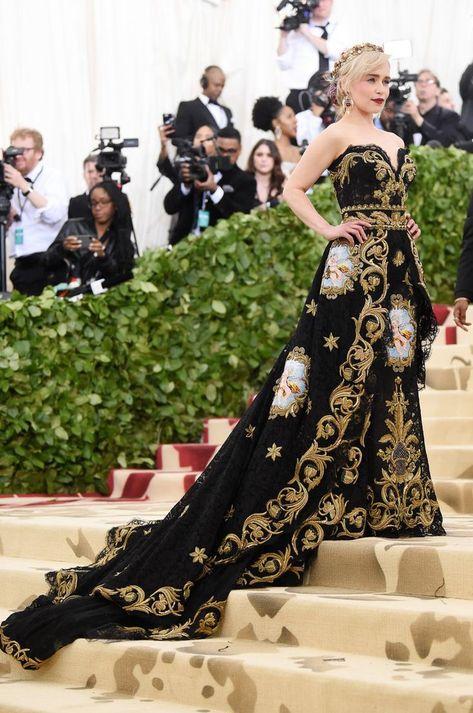 Emilia Clarke in Dolce and Gabbana Alta Moda at Met Gala 2018
