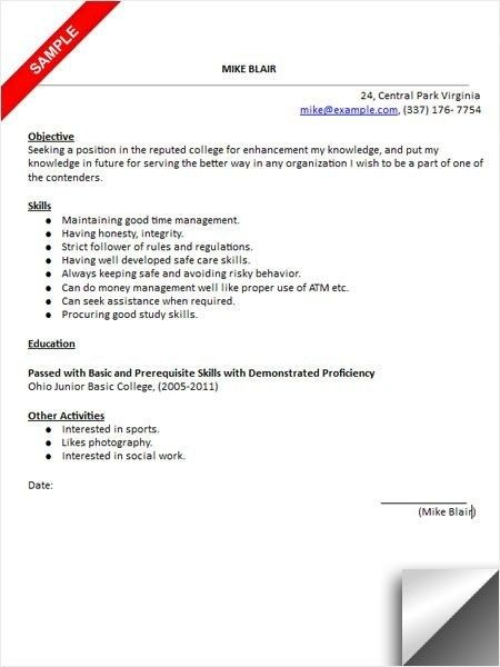 Resume to apply for college sample ocr mathematics graduated assessment terminal paper