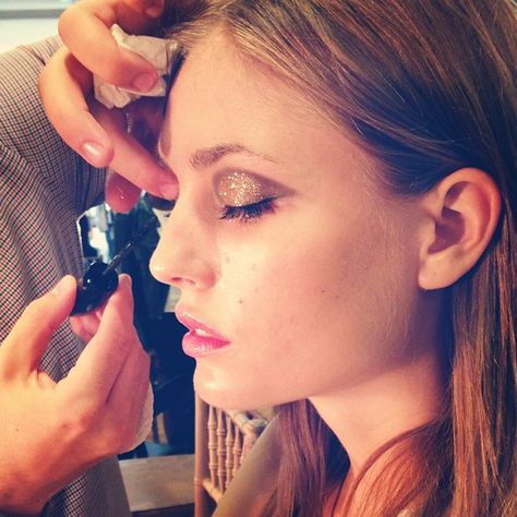 stunning glittery eyelids by Lancôme backstage at Jason Wu #NYFW