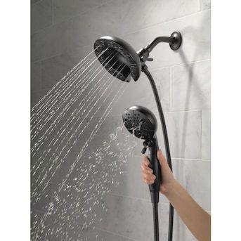 Delta Universal Showering Components Matte Black 5 Spray Dual Shower Head 1 75 Gpm 6 6 Lpm Lowes Com Shower Head With Hose Handheld Shower Head Shower Heads