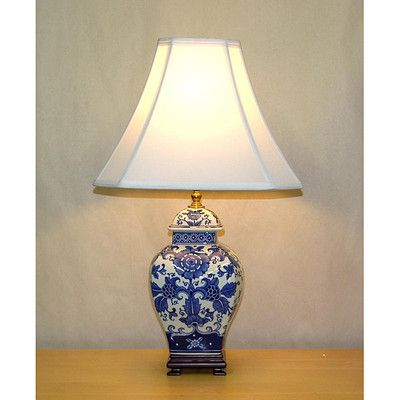 Blue and White Mum Square Temple Jar Table Lamp | eBay