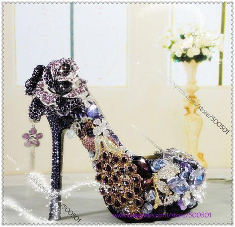Luxury Purple and Gold Heels Purple High Heels Wedding Shoes Purple glitter  heels Purple Platform pumps Purple Rhinestone Pumps-in Pumps from Shoes on  ... adf1aee89923