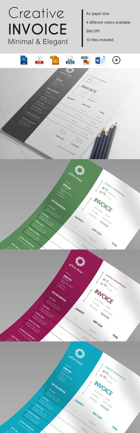 Printable Invoice Template | Invoice Design | Business Templates | Template | Modern Invoice | Receipt Template | Billing Template