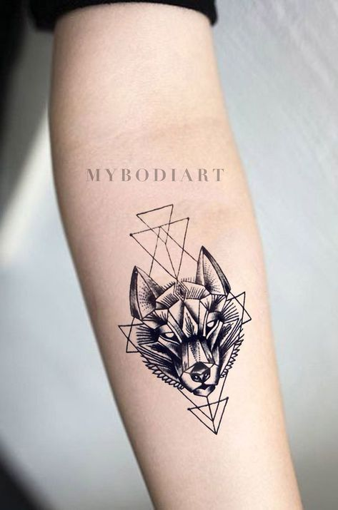 Lupa Small Black Geometric Wolf Spirit Animal Temporary Tattoo