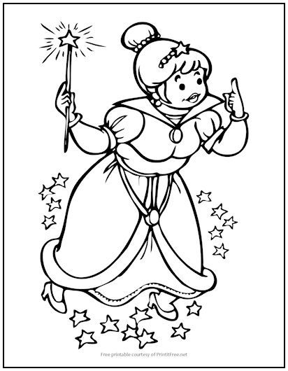 Fairy Godmother Coloring Page For Kids Monster Coloring Pages Unicorn Coloring Pages Coloring Pages