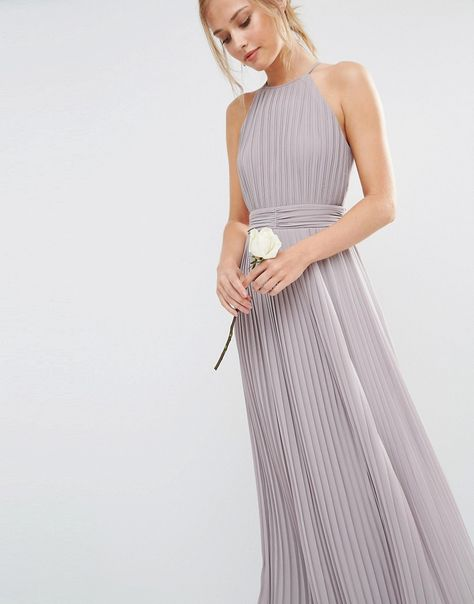 0c3177a3fdd ASOS TFNC WEDDING High Neck Pleated Maxi Dress
