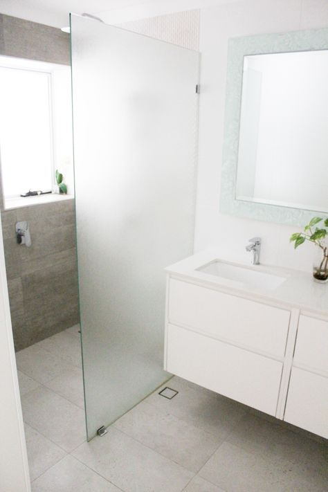 Frameless Frosted Shower Screen Wall Hung Vanity Small Family Bathroom Wet Room Set Up Grey Feature Bevelled Mirror Awning Window On