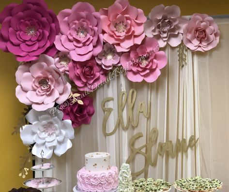 Pink Pink Paper Flowers Baby Shower Ideas Paper Flowers Backdrop Candy Table Paper Flower Backdrop Wedding Paper Flower Backdrop Paper Flowers