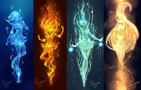 Sailor Power by kaminary-san. Sailor senshi as elementals. Sailor Mercury as water, Sailor Mars as fire, Sailor Jupiter as Electricity, Sailor Venus as Light Sailor Moons, Sailor Moon Crystal, Arte Sailor Moon, Sailor Jupiter, Sailor Venus, Sailor Pluto, Magic Art, Sailor Scouts, Mythical Creatures