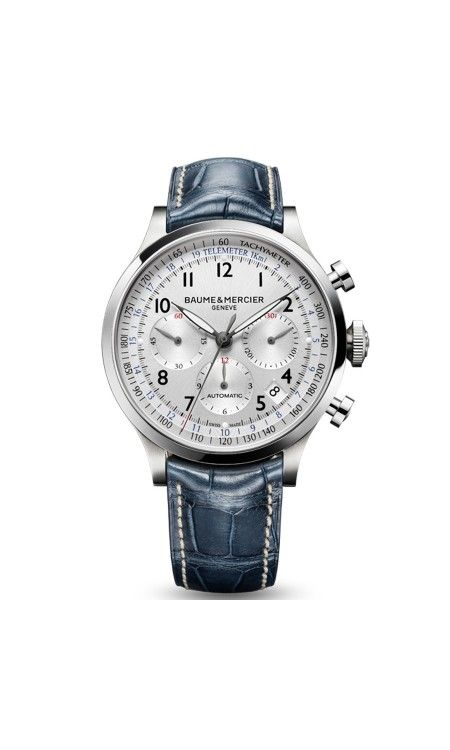 MOA10063 Baume & Mercier Capeland Men's Stainless Steel Watch | WatchesOnNet.com  Absolutely love the blue band