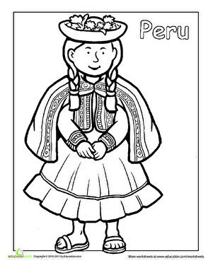 Multicultural Coloring Peru Dance Coloring Pages Hispanic