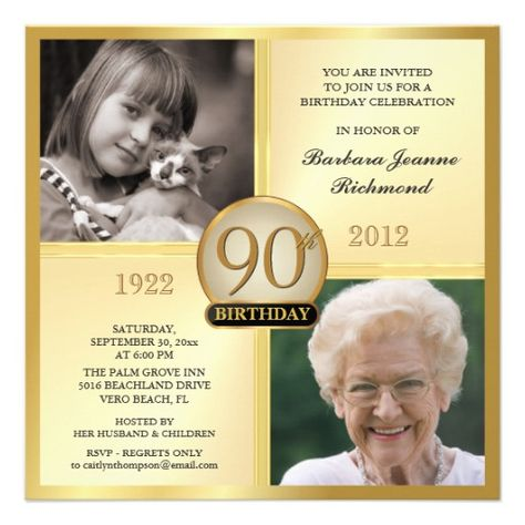 Gold 90th Birthday Invitations Then Now 2 Photos Zazzle