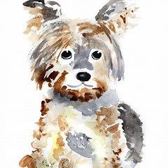 Easy Watercolor Painting Animal Dog Dog Print Art Watercolor