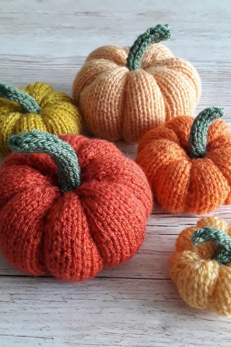 The more pumpkins, the better. Time to start making your fall decor! Download this DIY pumpkin knitting pattern and you'll have your own beautiful collection of pumpkins to display for Halloween or Thanksgiving.