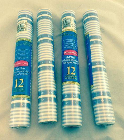 Vintage Rubbermaid Shelf Liner Blue Striped 1990s Rubbermaid Blue
