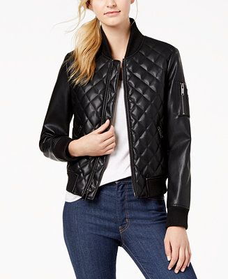 354404099 Diamond-Quilted Faux-Leather Bomber Jacket in 2019 | Leather | Black ...