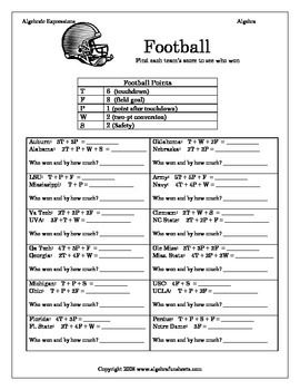 Algebra Funsheets Given An Expression For Football Scores Students Will Determine Who Wins Evaluating Algebraic Expressions Algebraic Expressions Expressions