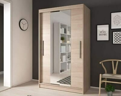 Brand New Modern Sliding Door Wardrobe 120cm 3ft11inch Wide White Sonoma Oak Ebay Modern Sliding Doors Bathroom Furniture Modern Sliding Doors